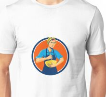 Female Chef Bandana Mixing Bowl Circle Retro Unisex T-Shirt