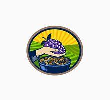 Hand Holding Grapes Raisins Oval Woodcut Unisex T-Shirt