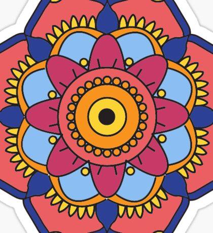 Blue Outline Mandala Flower Sticker