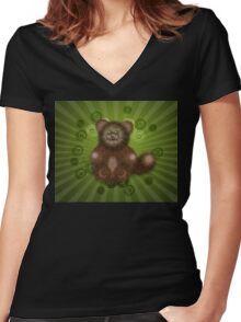 Brown Furry Cat Women's Fitted V-Neck T-Shirt