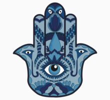 Blue Hamsa One Piece - Short Sleeve