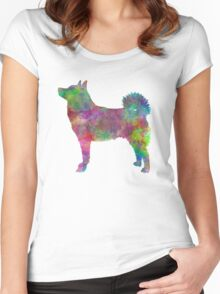 Norwegian Buhund in watercolor Women's Fitted Scoop T-Shirt