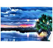 Blue Clouds at Sunset Poster