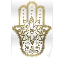 Hamsa Hand Lotus flower Eye - Gold Poster
