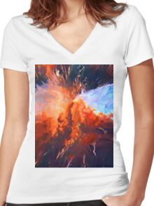 Abstract 59 Women's Fitted V-Neck T-Shirt