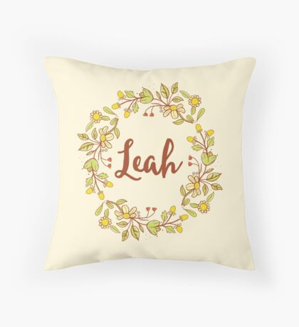 Leah lovely name and floral bouquet wreath Throw Pillow