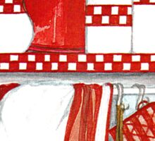 COUNTRY STYLE KITCHEN STILL LIFE IN RED AND WHITE and checkered patterns Sticker