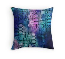 Books Blue and Purple Galaxy Type Throw Pillow