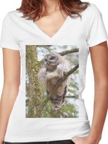 Cool Owl - Barred Owl Women's Fitted V-Neck T-Shirt