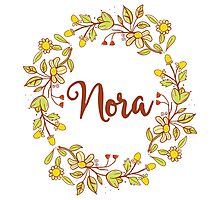 Nora lovely name and floral bouquet wreath Photographic Print