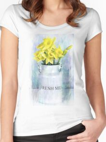 Daffodils and Milk Jug Women's Fitted Scoop T-Shirt