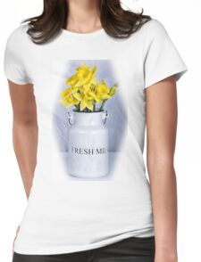 Daffodils and Milk Jug Womens Fitted T-Shirt