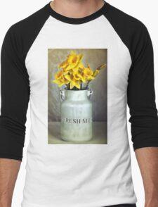 Milk Jug and Daffodils  Men's Baseball ¾ T-Shirt