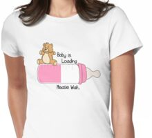 Baby is loading please wait... girl version Womens Fitted T-Shirt