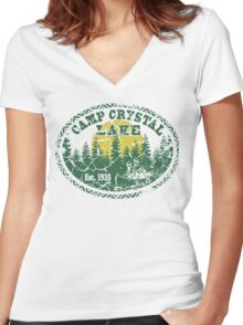 Camp Crystal Lake Retro Distressed Women's Fitted V-Neck T-Shirt