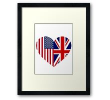 America Great Britain Flag Heart Framed Print