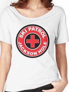 JACKSON HOLE WYOMING Skiing Ski Patrol Round Mountain Art Women's Relaxed Fit T-Shirt