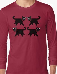 4 Black Cats in Red Collars Long Sleeve T-Shirt