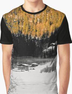 Alpine valley in winter Graphic T-Shirt