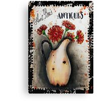 Vintage Sign Art Gerbera Daises Canvas Print