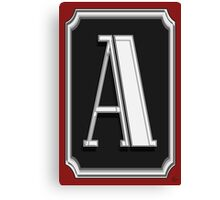 Deco Cafe Marquee  Monogram  letter A Canvas Print