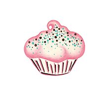Pink Frosted Cupcake Photographic Print