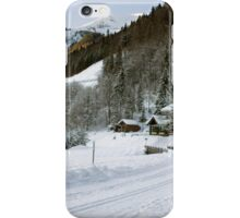 Cafe at Lake Montriond in winter iPhone Case/Skin