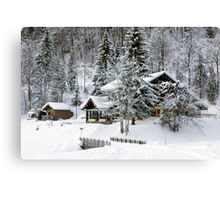Cafe at Lake Montriond in winter Canvas Print