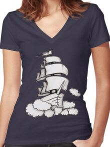 Flying Ship Women's Fitted V-Neck T-Shirt