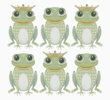 3 Crowned Frogs and 3 Crownless Frogs Kids Tee