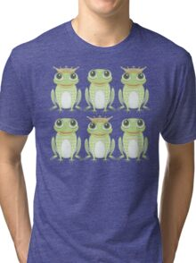 3 Crowned Frogs and 3 Crownless Frogs Tri-blend T-Shirt