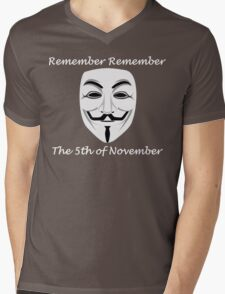 Guy Fawkes - Remember Remember Mens V-Neck T-Shirt