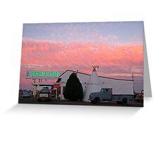Nostalgic Motel Under Arizona Sunset Greeting Card