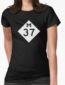 M-37 Highway Sign, Michigan Womens Fitted T-Shirt