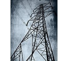 Pylongated - Black and white image monochrome of a Pylon Photographic Print