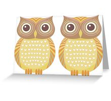 Twin Owls Greeting Card