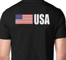 USA, American, Flag, USAStars & Stripes, Pure & Simple, America, WHITE TYPE on BLACK Unisex T-Shirt