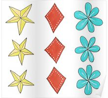 turquoise flower, yellow star, red diamond Poster