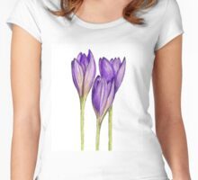 Hand drawn illustration by crocus flower Women's Fitted Scoop T-Shirt