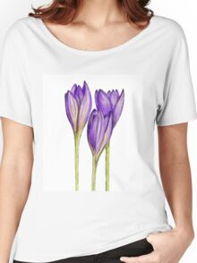 Hand drawn illustration by crocus flower Women's Relaxed Fit T-Shirt