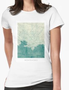 Montevideo Map Blue Vintage Womens Fitted T-Shirt