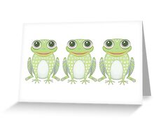 Happy Triplet Frogs Greeting Card