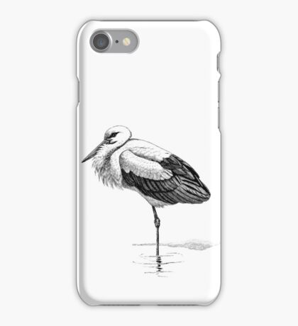 Vintage White Stork Bird Illustration Retro 1800s Black and White Birds Storks Image iPhone Case/Skin