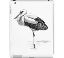 Vintage White Stork Bird Illustration Retro 1800s Black and White Birds Storks Image iPad Case/Skin