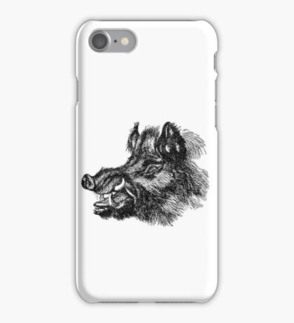 Vintage Wild Boar Head Illustration Retro 1800s Black and White Image iPhone Case/Skin