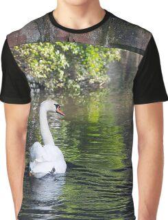 Swan Swimming Graphic T-Shirt