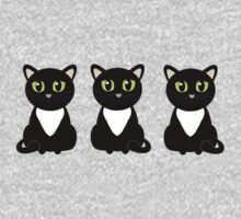 White Bibbed Black Cats One Piece - Long Sleeve