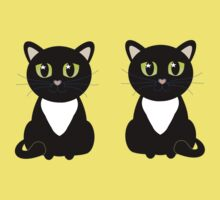 Two Black and White Cats One Piece - Short Sleeve