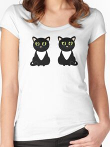 Two Black and White Cats Women's Fitted Scoop T-Shirt
