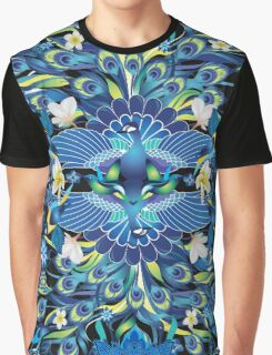 Blue Peacock Love Graphic T-Shirt